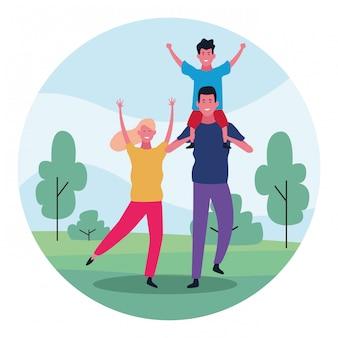 Kreskówki szczęśliwa rodzina w parkowym projekcie