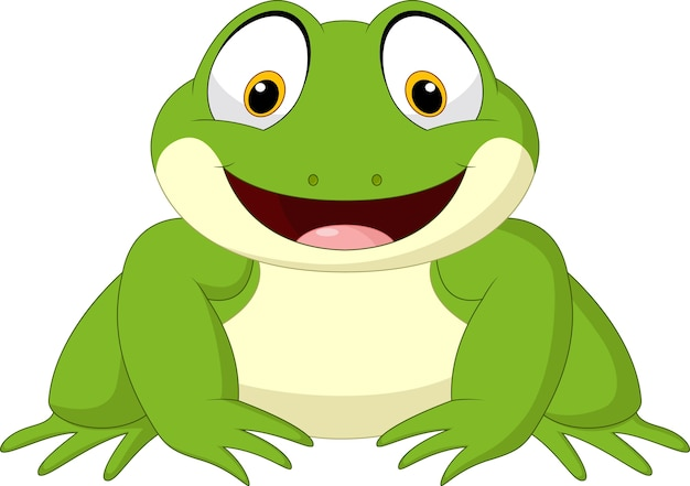 Kreskówki szczęśliwa żaba odizolowywająca na białym tle