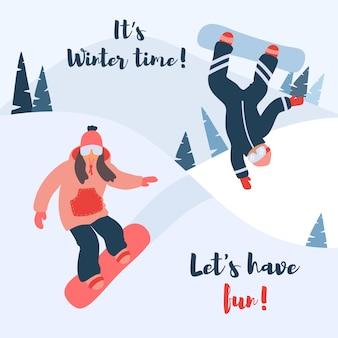 Kreskówki wektorowa ilustracja jazda na snowboardzie.