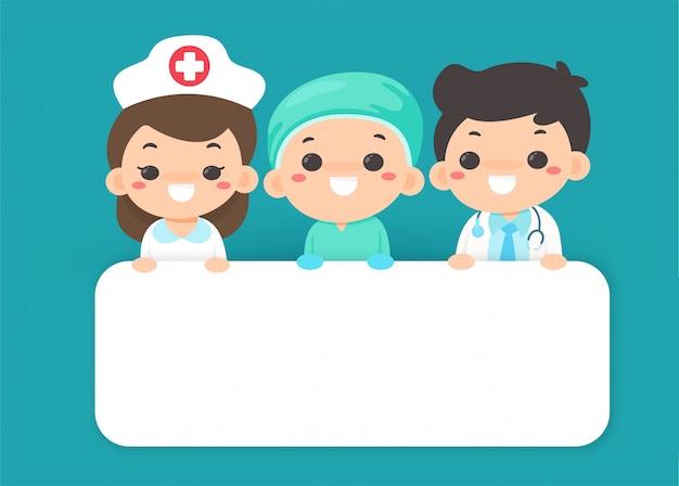 Kreskówki wektorowe dziękują lekarzom i pielęgniarkom, którzy ciężko pracują w walce z wirusem koronowym.