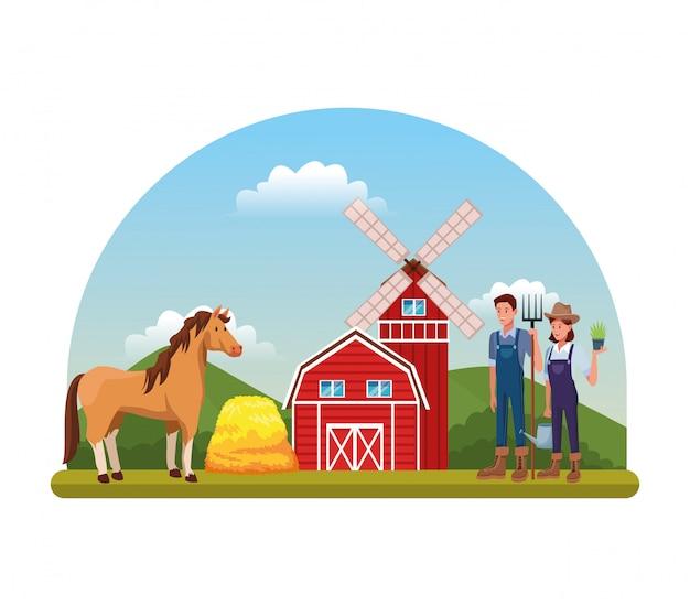 Kreskówki wiejskiej scenerii rolniczej