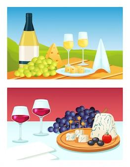 Kreskówki wino z serową ilustracją. płaska butelka kieliszka do wina, sok do picia w szklance, talerz serów, zestaw przekąsek