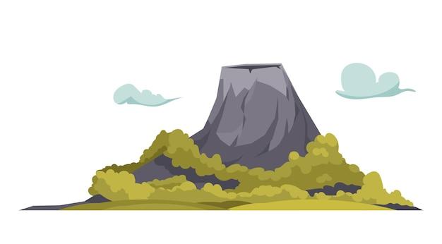 Kreskówkowa kompozycja śpiącego wulkanu i zielonych drzew