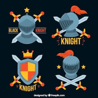 Kreskówkowe emblematy rycerzy