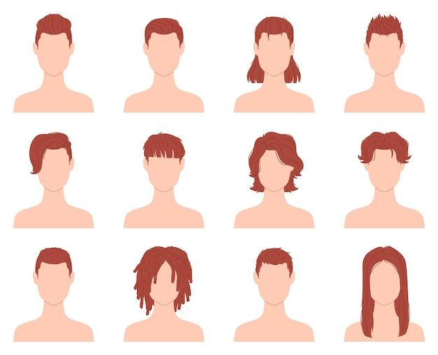 Kreskówkowe fryzury dla mężczyzn lub chłopców z krótkimi, długimi i kręconymi włosami. męskie strzyżenie w salonie fryzjerskim. płaskie moda mężczyzna fryzura ikona wektor zestaw. stylowa przystojna fryzura na białym tle