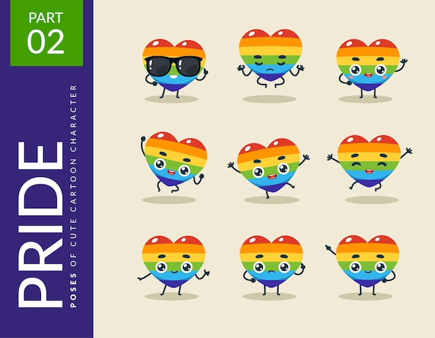 Kreskówkowe obrazy the pride heart. zestaw.