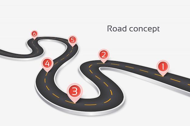 Kręta 3d plansza koncepcja drogi