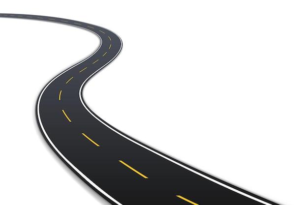 Kręta autostrada lub miejska droga miejska tekstury asfaltu na białym tle. element szablonu do nawigacji lub mapy realistyczne 3d. ilustracja wektorowa
