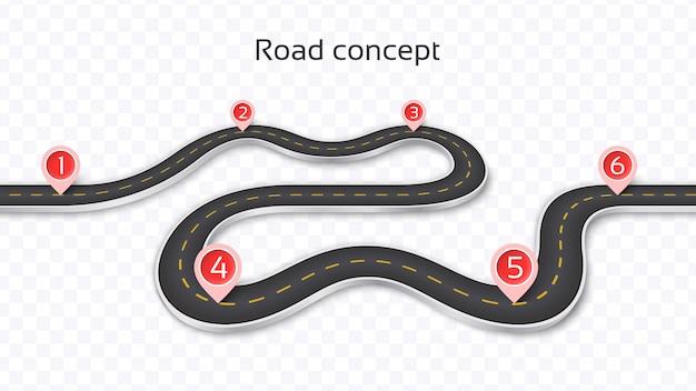 Kręta droga 3d na przezroczystym tle. szablon osi czasu