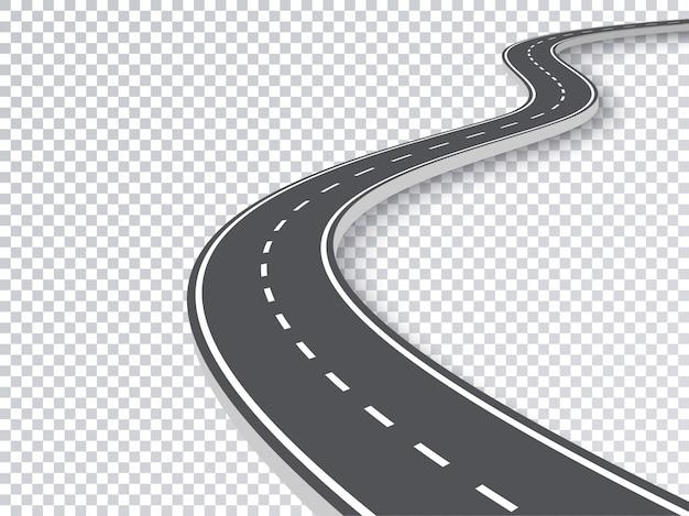 Kręta droga na białym tle przezroczysty efekt specjalny.