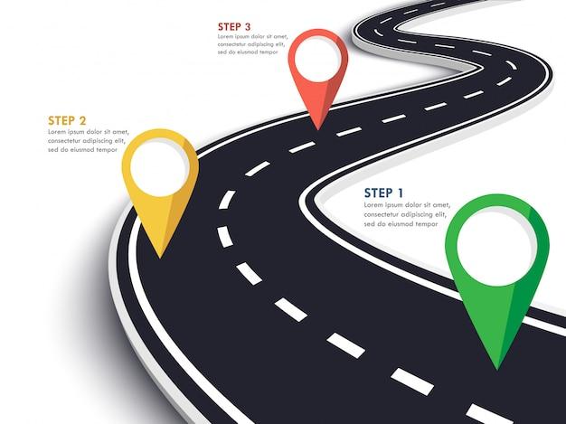 Kręta droga sposób lokalizacji infographic szablon ze wskaźnikiem pin.