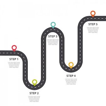Kręta droga ze wskaźnikiem pin szablon infographic