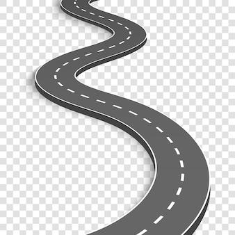 Kręta zakrzywiona droga. autostrada z oznaczeniami.