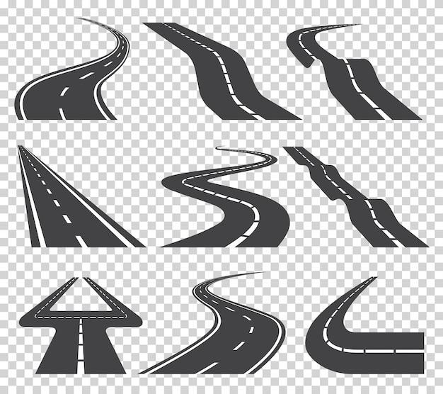Kręta zakrzywiona droga lub autostrada z oznaczeniami. kierunek, zestaw transportowy. ilustracja wektorowa na przezroczystym