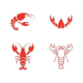 Krewetka wektor ikona ilustracja szablon projektu