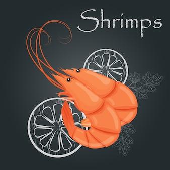 Krewetki gotowane. gotowana krewetka tygrysia. krewetki na ciemnym tle. pojęcie odżywiania żywności morskiej. ilustracja.