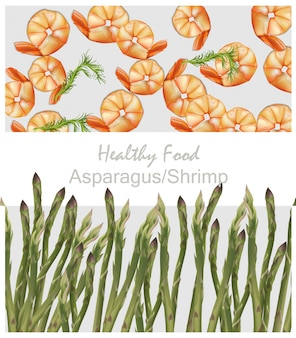 Krewetki i zdrowy wzór plakat szparagi