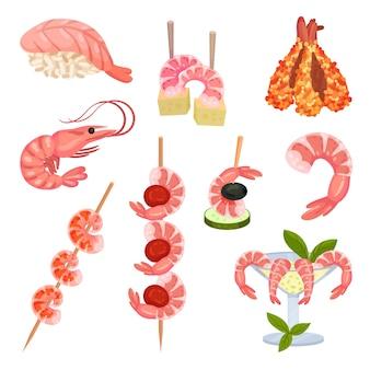 Krewetki na sushi, szaszłyki, z ogórkiem, w szklance, sos. ilustracja na białym tle.
