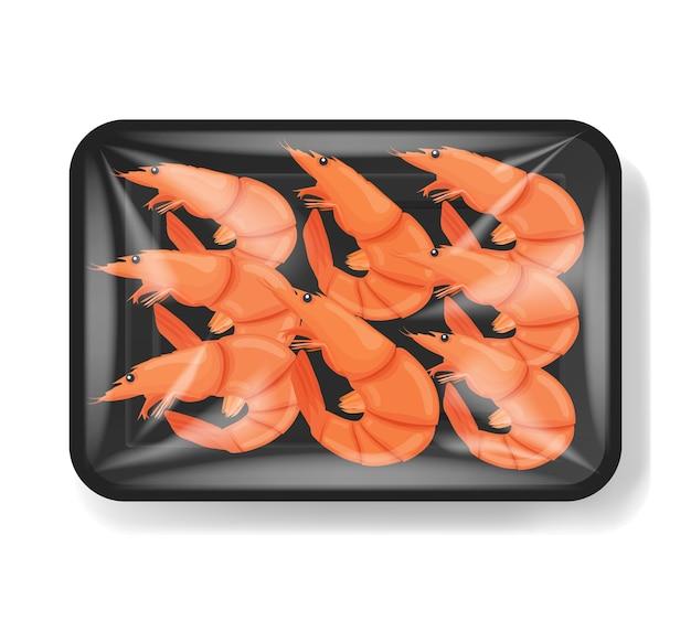 Krewetki w plastikowym pojemniku na tacę z celofanem. krewetka tygrysia. plastikowy pojemnik na żywność. ilustracja.