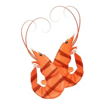 Krewetki z grilla. smaczne, świeżo gotowane krewetki smażone. krewetka tygrysia. krewetki na białym tle. pojęcie odżywiania żywności morskiej. ilustracja.