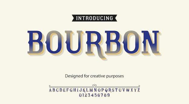 Krój bourbon. rodzaj czcionki z alfabetem i cyframi