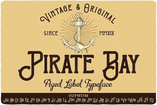 Krój czcionki etykiety pirate bay