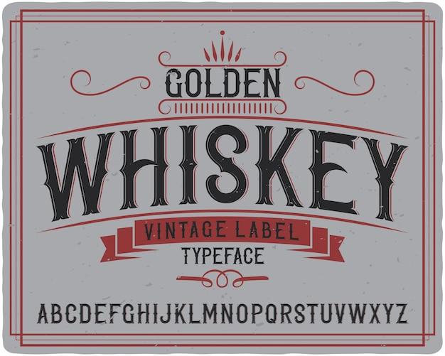 Krój czcionki złotej whisky