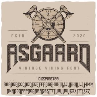Krój pisma etykiety asgaard