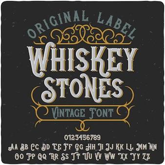 Krój pisma etykiety kamieni whisky