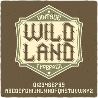 Krój pisma etykiety wild land