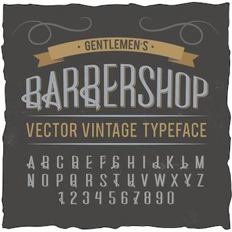 """Krój pisma starodawnego o nazwie """"barbershop""""."""