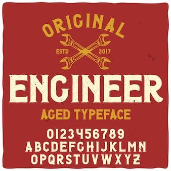 """Krój pisma starodawnego o nazwie """"inżynier"""". dobra, ręcznie wykonana czcionka do każdego projektu etykiety."""