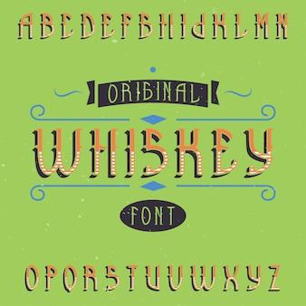 Krój pisma vintage etykiety o nazwie whiskey.