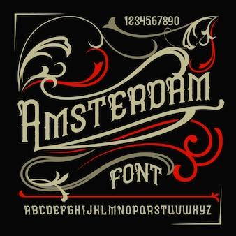 "Krój pisma vintage o nazwie ""amsterdam""."