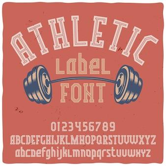 """Krój pisma vintage o nazwie """"athletic""""."""