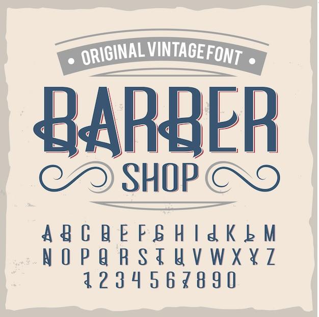 "Krój pisma vintage o nazwie ""barber""."