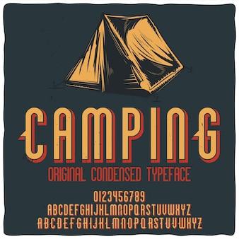 "Krój pisma vintage o nazwie ""camping""."