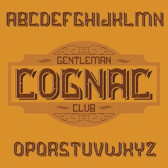 Krój pisma vintage o nazwie cognac