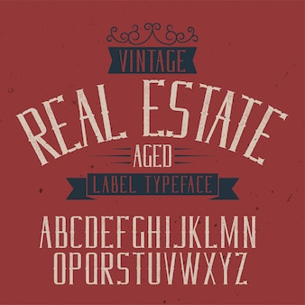 Krój pisma vintage o nazwie real estate.