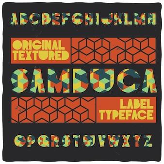 "Krój pisma vintage o nazwie ""sambuca""."