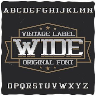 """Krój pisma vintage o nazwie """"szeroki""""."""