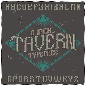 """Krój pisma vintage o nazwie """"tavern""""."""
