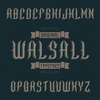 Krój pisma vintage o nazwie walsall.