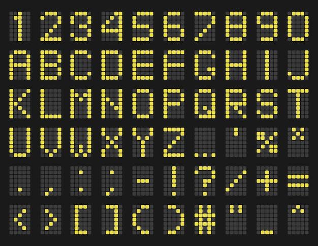 Krój pisma w stylu harmonogramu lotniska, żółty szablon alfabetu harmonogramu z cyframi i symbolami