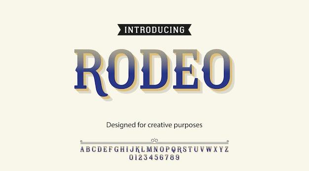 Krój rodeo. rodzaj czcionki z alfabetem i cyframi