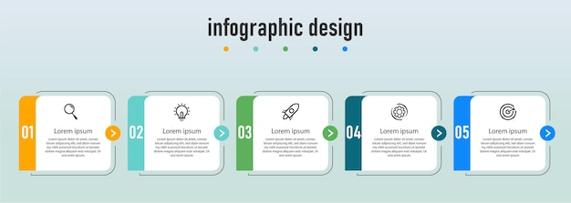 Krok infografika projekt przepływu pracy numer wykresu procesu infografika krokowy wykres z ikonami linii koncepcja informacji ilustracja wykresu informacji o kroku i infografiki
