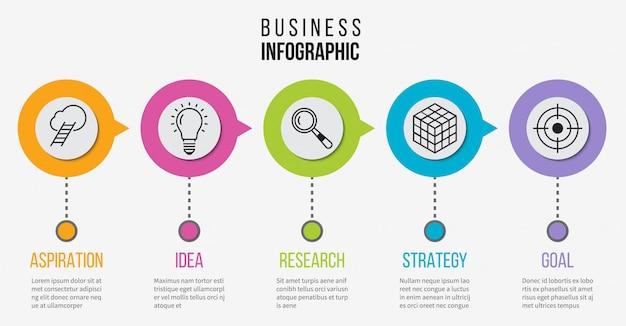 Krok infografika. schemat biznesowy procesu prezentacji. oś czasu z 5 opcjami