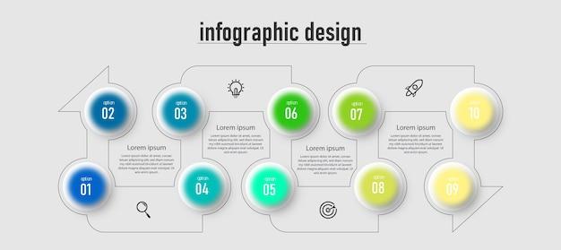 Krok na osi czasu biznes kreatywny szablon infografiki projekt