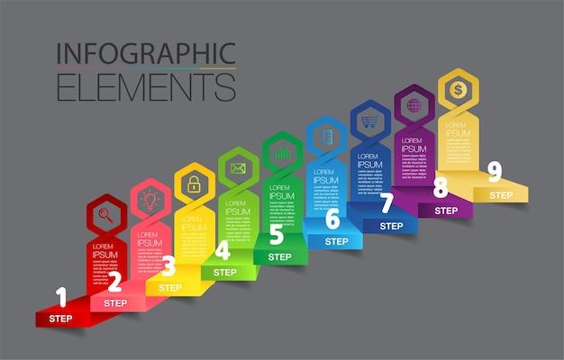 Krok naprzód pomyślnej koncepcji biznesowej wektora infografiki schodów