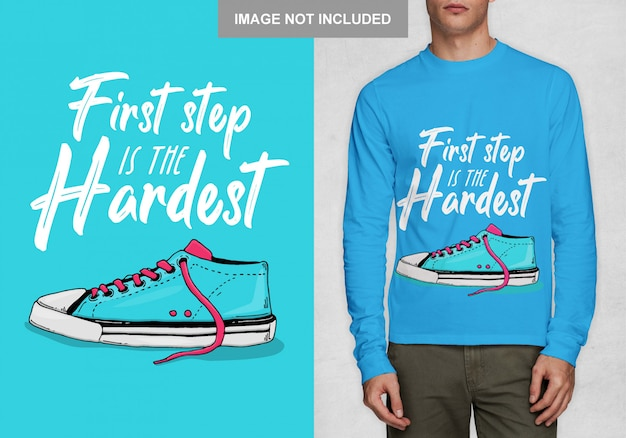 Krok pięści jest najtrudniejszy. projekt typografii na koszulkę